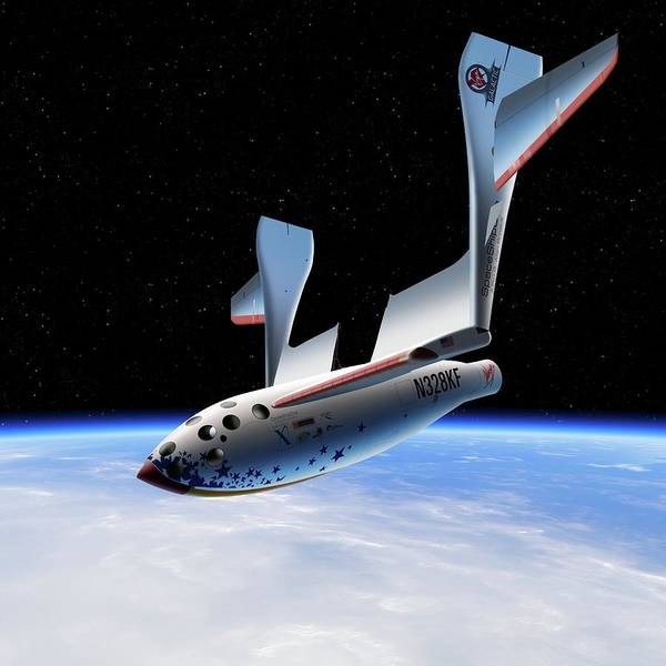 X Wing Photograph - Spaceshipone In Orbit by Detlev Van Ravenswaay