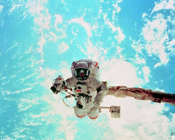 Photograph - Spacewalk During Shuttle Mission Sts-69 by Nasa