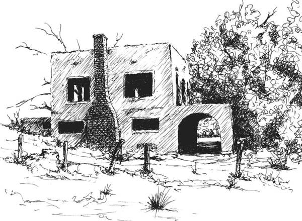 Drawing - Spanish Mansion by Sam Sidders
