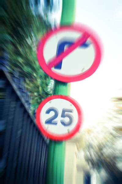Drunk Photograph - Speed Sign by Tom Gowanlock