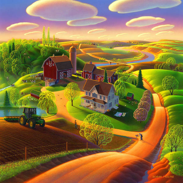 Folk Painting - Spring On The Farm by Robin Moline