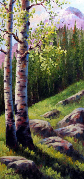 Wall Art - Painting - Springtime Aspens by David G Paul