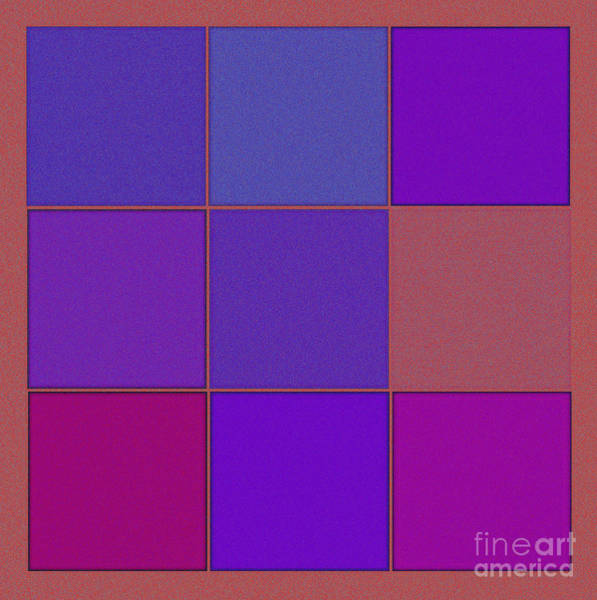 Thread Mixed Media - Squares - Purple by Celestial Images