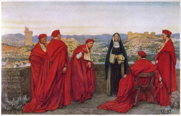 Red Cardinal Drawing - St Catherine Of Siena  Italian by Mary Evans Picture Library