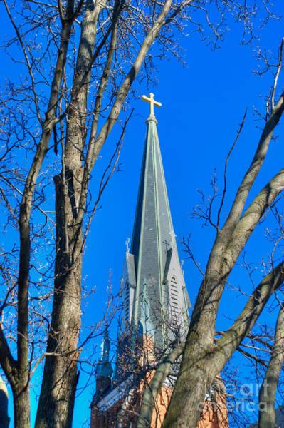 Photograph - St. Marys Church Steeple Of St Marys Church by Mark Dodd