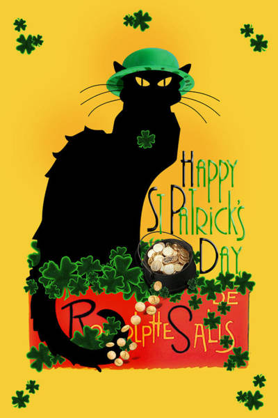 Designs Digital Art - St Patrick's Day - Le Chat Noir by Gravityx9 Designs