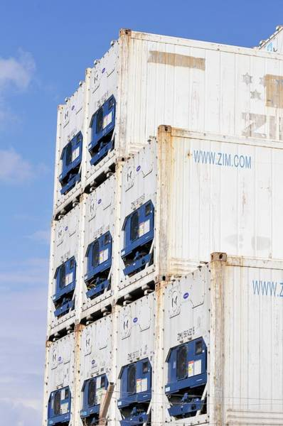 Cargo Containers Wall Art - Photograph - Stack Of Shipping Containers by Photostock-israel/science Photo Library