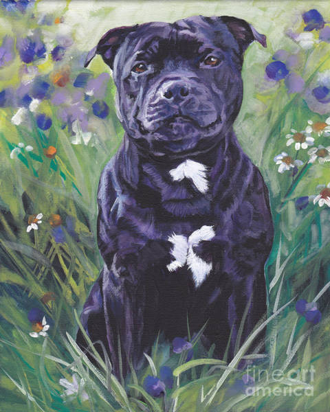 Staffordshire Wall Art - Painting - Staffordshire Bull Terrier by Lee Ann Shepard