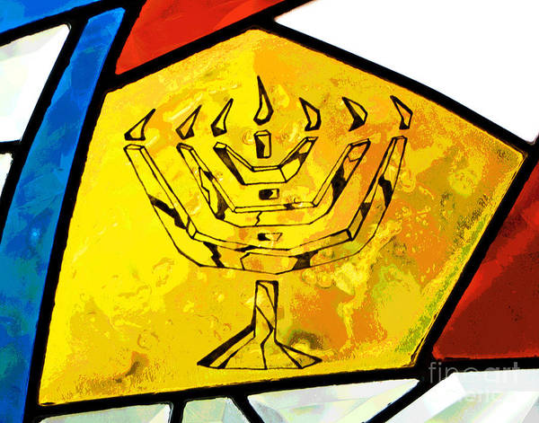 Photograph - Stained Glass Menorah by Larry Oskin