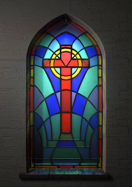 Stained Glass Digital Art - Stained Glass Window Crucifix by Allan Swart