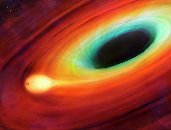 Photograph - Star Distorted By Supermassive Black Hole by Mark Garlick/science Photo Library