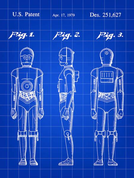Star Wars Wall Art - Digital Art - Star Wars C-3po Patent 1979 - Blue by Stephen Younts