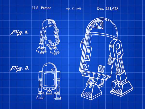 Wall Art - Digital Art - Star Wars R2-d2 Patent 1979 - Blue by Stephen Younts