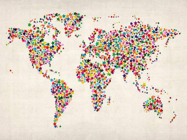 World Travel Digital Art - Stars Map Of The World Map by Michael Tompsett
