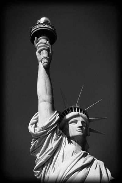 Battery D Photograph - Statue Of Liberty In Black And White by Dan Sproul