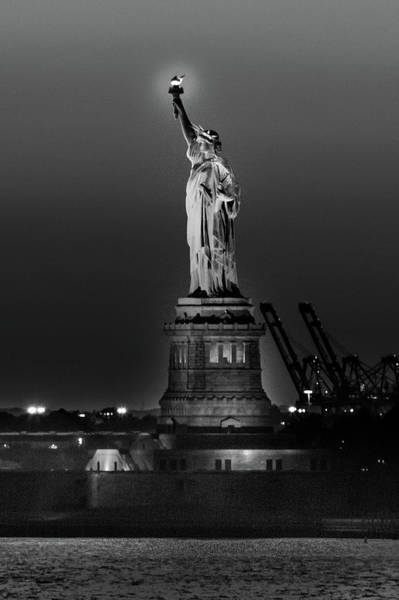 Atlantic City Photograph - Statue Of Liberty Sunset. Nyc Harbor by Panoramic Images