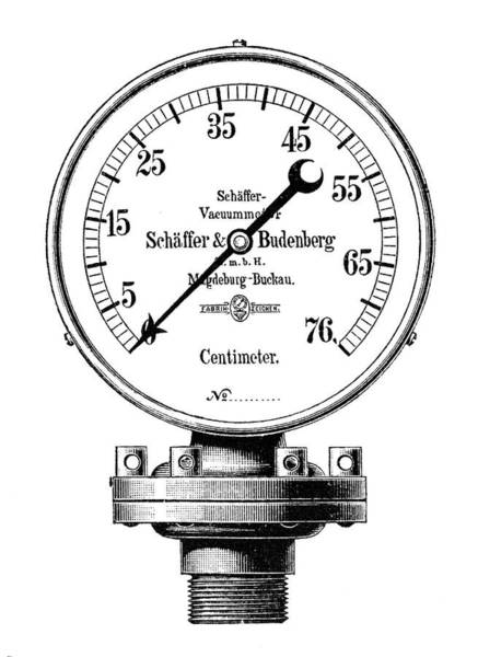 Gauge Photograph - Steam Engine Vacuum Gauge by Science Photo Library