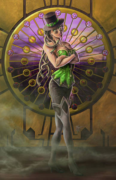 Wall Art - Painting - Steampunk Medusa by MGL Meiklejohn Graphics Licensing