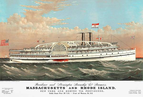 Drawing - Steamship Massachusetts by Paul and Janice Russell