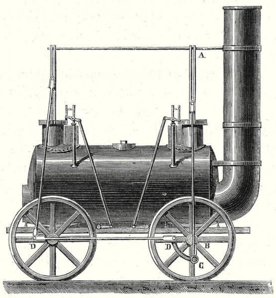 Locomotive Drawing - Stephensons Locomotive With Coupled Wheels by English School