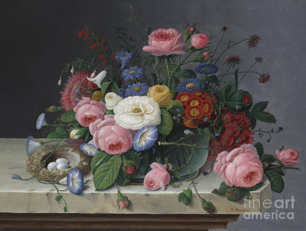 Plant Reproduction Painting - Still Life With Flowers And Birds Nest by Severin Roesen