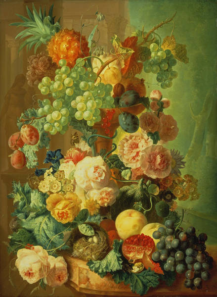 Pomegranate Painting - Still Life With Fruit And Flowers by Jan van Os