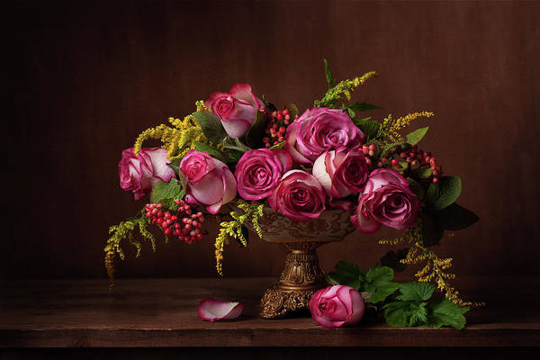 Pink Rose Photograph - Still Life With Roses by Alina Lankina
