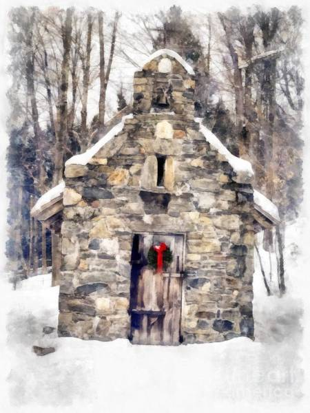 Chapels Painting - Stone Chapel In The Woods Trapp Family Lodge Stowe Vermont by Edward Fielding
