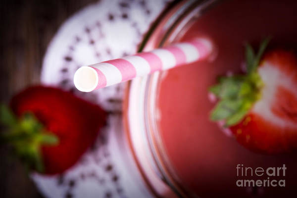 Doily Wall Art - Photograph - Strawberry Smoothie by Jane Rix