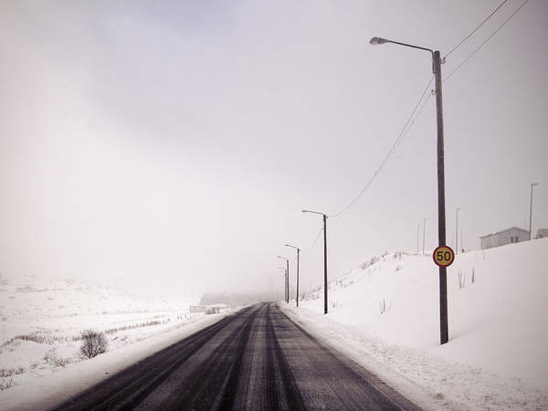 Reykjavik Photograph - Street Lights In Snowy Landscape by Kmm Productions