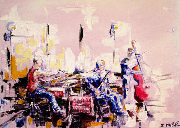 Musical Theme Painting - Street Musicians by Zlatko Music