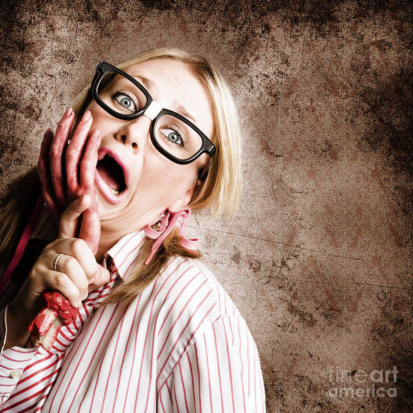 Hand Pump Photograph - Stressed Businesswoman Under Attack At Work by Jorgo Photography - Wall Art Gallery