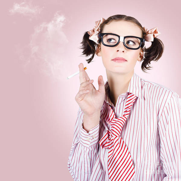 Addictive Photograph - Stressed Geeky Office Worker On Smoke Break by Jorgo Photography - Wall Art Gallery