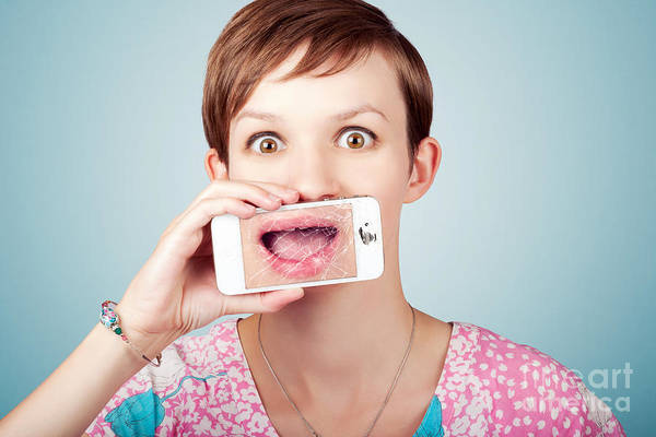 Smartphone Photograph - Stressed Woman With Smashed Smartphone Screen by Jorgo Photography - Wall Art Gallery
