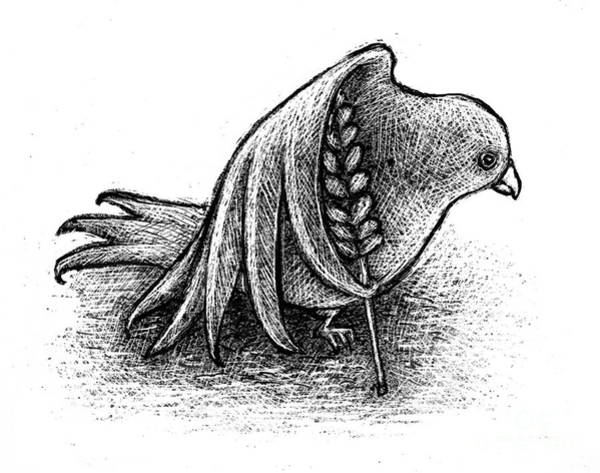 Olive Branch Drawing - Struggling Peace by Chris Van Es