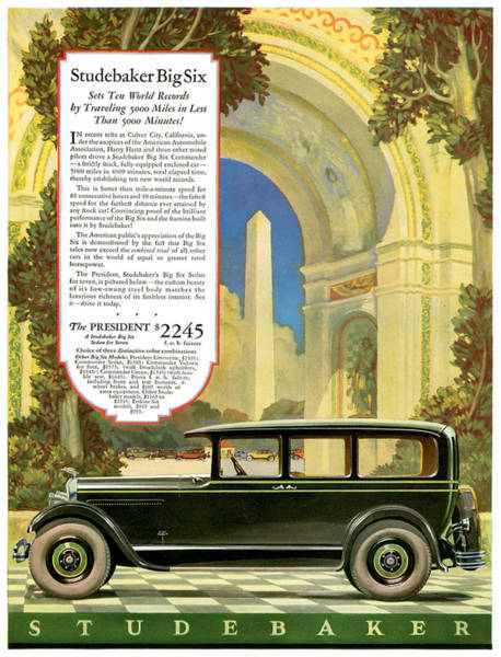 American Car Drawing - Studebaker Big Six - Vintage Car Poster by World Art Prints And Designs