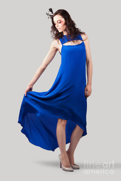 Dress Fitting Photograph - Studio Fashion Woman In Blue Dress by Jorgo Photography - Wall Art Gallery