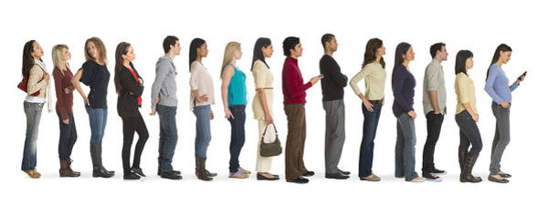 Studio Shot Of People Waiting In Line Art Print by Tetra Images