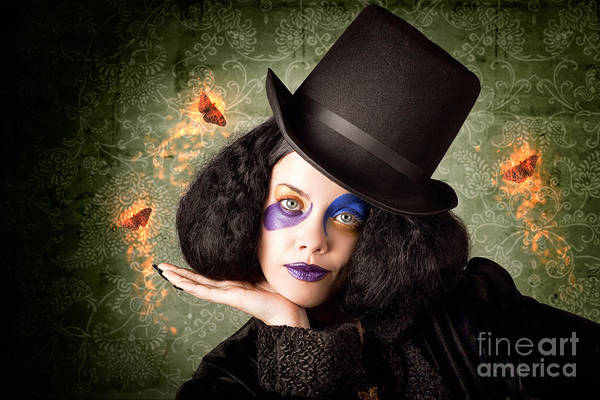 Black Magic Woman Wall Art - Photograph - Stylish Female Magician Performing Magic Trick by Jorgo Photography - Wall Art Gallery
