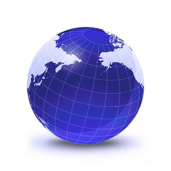 Digital Art - Stylized Earth Globe With Grid by Leonello Calvetti