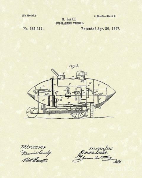 Drawing - Submarine 1897 Patent Art by Prior Art Design