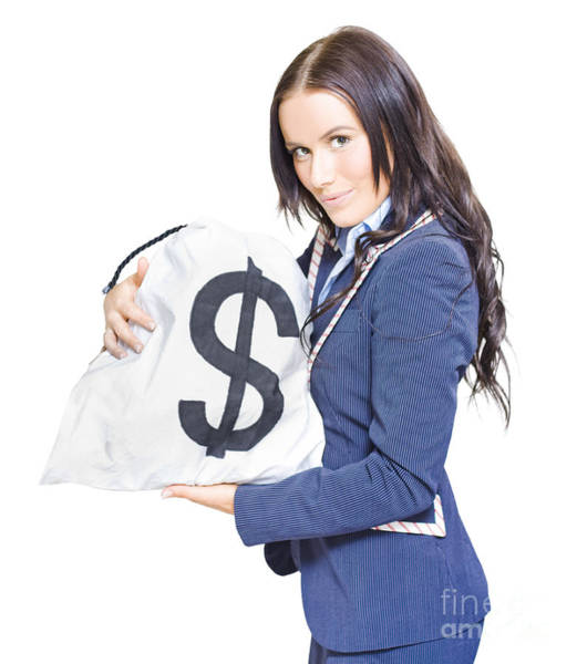 Wall Art - Photograph - Successful Business Woman Holding Bags Of Money by Jorgo Photography - Wall Art Gallery