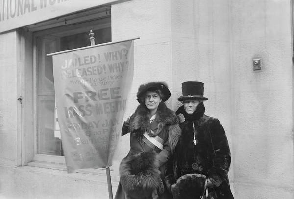 Wall Art - Photograph - Suffragists Holding Banners Announcing by Stocktrek Images