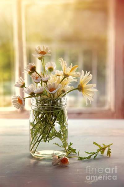Photograph - Summer Daisies In Glass Jar by Sandra Cunningham
