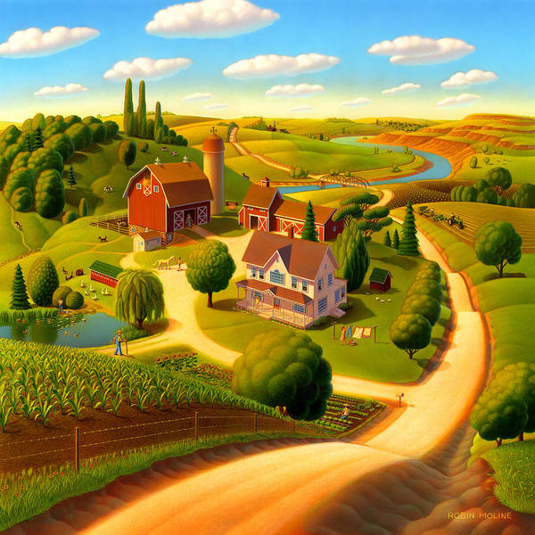 Hills Wall Art - Painting - Summer On The Farm  by Robin Moline
