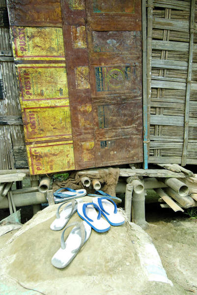 Flip Flops Photograph - Sumoimari Ghat, Majuli Island, Assam by Ellen Clark