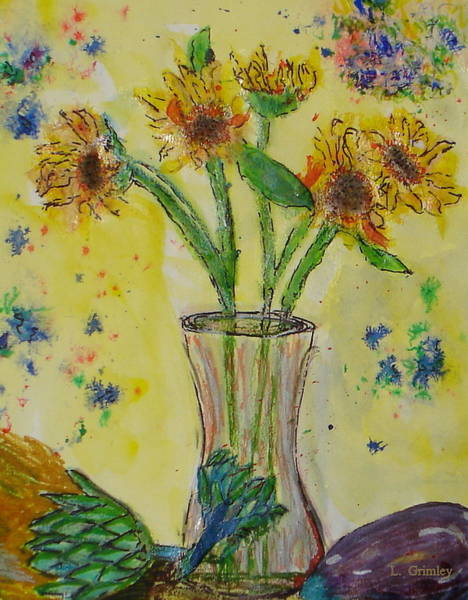 Wall Art - Mixed Media - Sunflowers And Artichokes by Lessandra Grimley