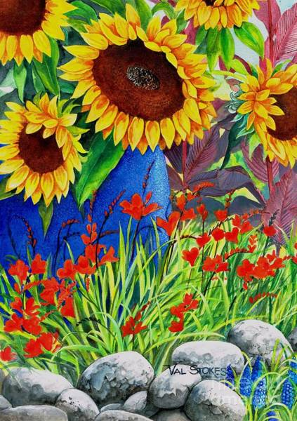 Painting - Sunflowers by Val Stokes