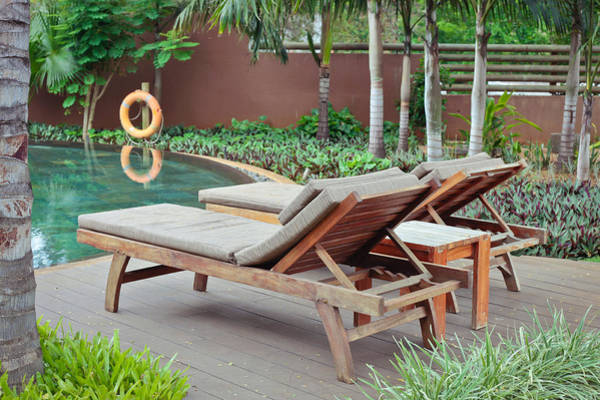 Pool Table Photograph - Sunloungers by Tom Gowanlock
