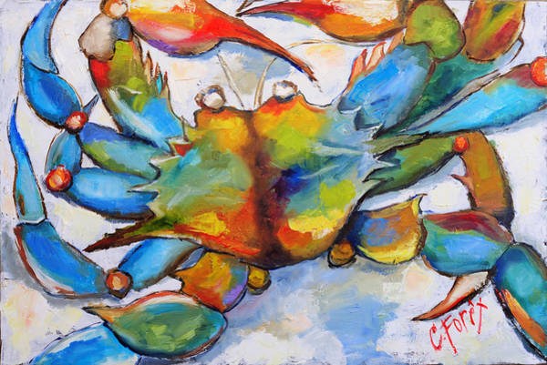 Wall Art - Painting - Sunny Blue Crab by Carole Foret